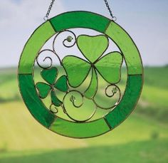 Stained Glass Shamrock Suncatcher - Decorating a Garden for St. Patrick's Day