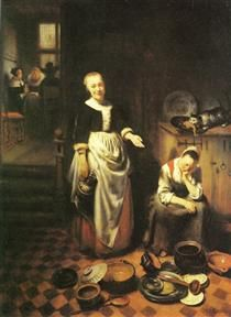 The idle servant - Nicolaes Maes