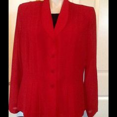 LADY IN RED. BEAUTIFUL BLOUSE NICELY TAILORED.❤️ Very classy long sleeved button down blouse. Tops Blouses