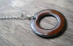 The Positivity Circle Reversible Necklace Brown and by Steinvika, $39.00