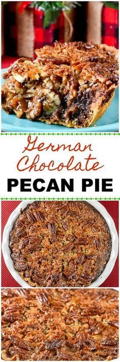 This German Chocolate Pecan Pie combines German Chocolate Cake and Pecan Pie in a fabulous holiday dessert! via Flavor Mosaic This German Chocolate Pecan Pie combines German Chocolate Cake and Pecan Pie in a fabulous holiday dessert! Pecan Recipes, Tart Recipes, Sweet Recipes, Pumpkin Recipes, Holiday Desserts, Just Desserts, Delicious Desserts, Healthy Desserts, German Chocolate Pies