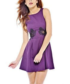 Purple Crochet Cutout A-Line Dress by AX Paris