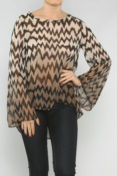 Mocha and Black Flare Sleeve Top