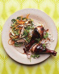 For a finger lickin' good dinner, try these glazed drumsticks served with a crunchy Asian-accented slaw.