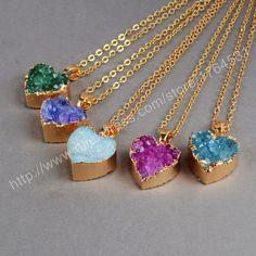 Natural durzy colares pingente de ouro Electroformed pintado cor coração ágata Druzy pingente Geode moda jóias DIY 0169