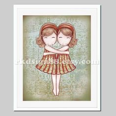 Twin sisters nursery art print, art for baby nursery decor, kids wall art, kids art, Gemini, blonde - My Lovely Best Friend 8 x 10