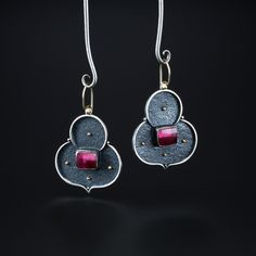 Tourmaline Earrings. Fabricated Sterling Silver and 14k Gold. www.amybuettner.com https://www.facebook.com/pages/Metalsmiths-Amy-Buettner-Tucker-Glasow/101876779907812?ref=hl https://www.etsy.com/people/amybuettner http://instagram.com/amybuettnertuckerglasow