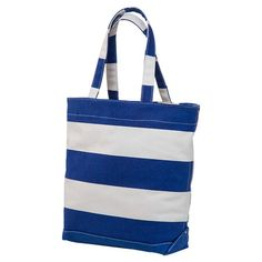 Striped cotton canvas tote in blue.   Product: ToteConstruction Material: Cotton canvasColor: Navy and...