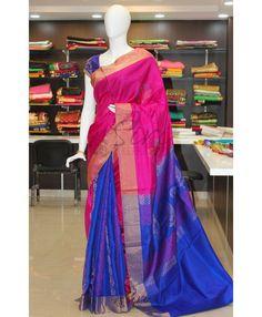 Patli Pallu Pure Uppada Silk Saree in Pink and Royal Blue