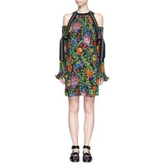 3.1 Phillip Lim Floral print plissé pleat cold shoulder dress ($850) ❤ liked on Polyvore featuring dresses, flower pattern dress, floral dresses, floral pattern dress, floral pleated dress and cut out shoulder dress