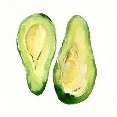 Avocado Art Print of my original watercolor painting Botanical limited edition Peridot green Avocado green, kitchen decor. $21.00, via Etsy.
