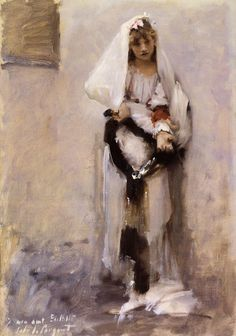 A Parisian Beggar Girl aka Spanish Beggar Girl by John Singer Sargent #art