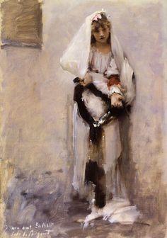 A Parisian Beggar Girl aka Spanish Beggar Girl by John Singer Sargent #art