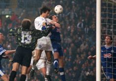 Ian Rush scores for Leeds United against Leicester City.