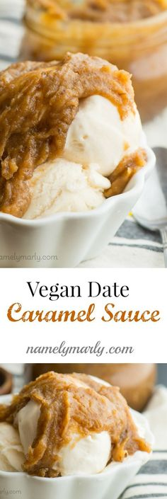 Vegan Caramel Date Sauce. Just a few ingredients and a few steps to naturally sweet, plant-based, delicious caramel sauce that you can serve over ice cream, bananas, sliced apples, and more!