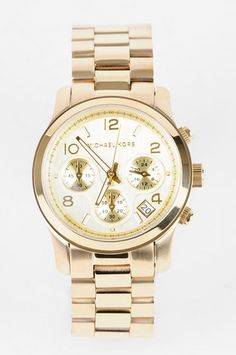 Michael Kors Watches Gold Chronograph Watch in Gold $250 at www.tobi.com