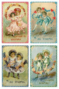 instant download of 20 antique and vintage valentines, 3.25 X 5 inches, printable download for paper crafts no. 466. $3.50, via Etsy.