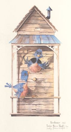 A 14 x 9.5 lithograph from an original watercolor by Carolyn Shores Wright. This item is one of the many whimsical bird scenes in her popular Bird
