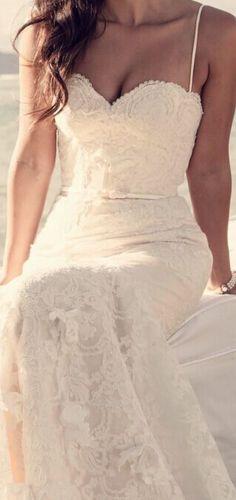 Spaghetti Straps Lace Mermaid Summer Beach Wedding Dress Sheath Custom Made Bridal Wedding Gown Prom Dress