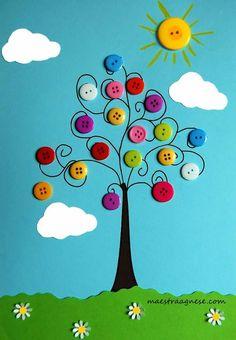 herbstdeko basteln naturmaterialien I miei lavori basteln naturmaterialien Art N Craft, Craft Stick Crafts, Preschool Crafts, Kids Crafts, Easy Crafts, Diy And Crafts, Arts And Crafts, Paper Crafts, Button Crafts For Kids