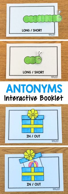 This antonym interactive booklet is perfect for teaching your kids the concept of antonyms! It is part of a packet that also includes practice worksheets, a kid-created antonym poem book, antonym creative writing, antonym art, and a fun antonym game! #antonyms