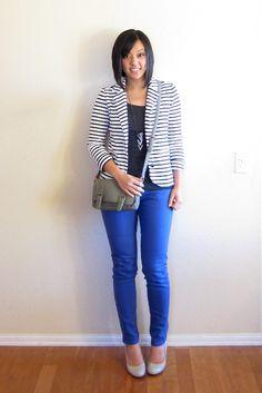 striped blazer, black t, blue skinnies, nude pumps