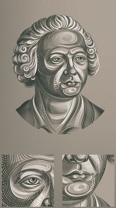 Vector engraving by Ruslan Khasanov.  Modern look to a traditional figure.