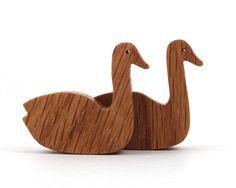 Wood Swan Toy Waldorf  Wood Toy Miniature Noah's Ark Animals Farm Play Set Wooden Farm Animals Tiny Swan Figurine