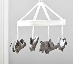 Wool Elephant Crib Mobile with whit mobile arm