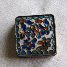 Trinket box,Pill box, hand made vintage, metal glass brass enameled vintage, Collectible pill boxes, 1960s collection, by MAISONDELINGE on Etsy