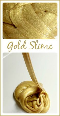 Super easy gold slime recipe to make with the kids. Science and sensory play fun. Add some gold coins for Saint Patrick's Day.