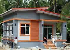 The house plan for today is a single storey house with simple layout, reduced costs for construction, ideal for those who have an average budget. Simple Bungalow House Designs, Modern Bungalow House, Simple House Design, House Front Design, Modern House Design, Flat Roof House Designs, Modern Bungalow Exterior, One Storey House, 2 Storey House Design