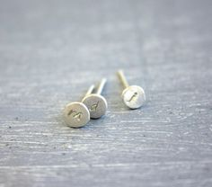 Initial Stud earrings lowercase in Recycled Fine Silver / initial tiny silver post earrings minimal Handmade FREE SHIPPING