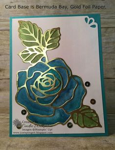 Just Sponge It: Water Colored Rose Garden, Rose Garden Thinlits Dies, Shimmery White Cardstock, re-inkers, Gold Foil Paper, Sequins, Curvy Corner Trio Punch, Aqua Painters, Clear Wink of Stella, Big Shot, Magnetic Platform, Precision Base Plate, Fast Fuse, Flowers, Stampin' Up!, DIY, All Occasion Cards