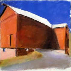 Big Red Barn with a Shadow, 2007, Pastel on paper, 30 x 30 inches, 76.2 x 76.2 cm, A/Y#14767 - Wolf Kahn