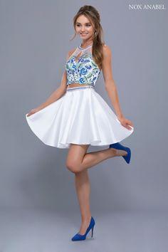 Halter Neckline Two Piece White Dress 25e7a7f7e