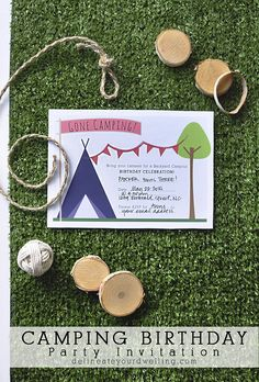 A fun Camping Birthday Party themed Invitation! Download, print and customize for your next party celebration Delineateyourdwelling.com