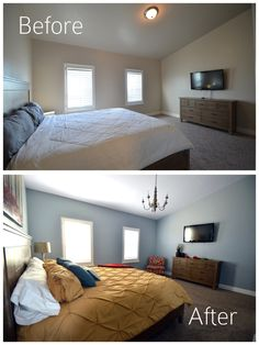 Master Bedroom Reveal- Glidden Paint Sanctuary Blue- Before and After 2