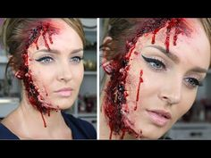 Ripped/Torn Skin Facial Injury for Halloween! SFX Makeup Tutorial - YouTube