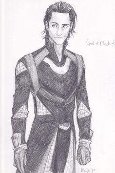 Amazing drawing of Loki, The God of Mischief, by burdge-bug.