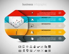 Business Infographic by grki Vector illustration of business infographic made of speech bubble and envelope. 23 icons inside file. ZIP includes free font link,