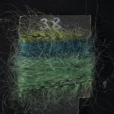 Yarn sample, green space-dyed mohair