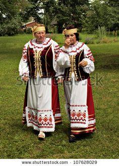 JEKABPILS, LATVIA - JULY 14: Unidentified Ukrainian choir members dressed in national Ukrainian clothes at the Song Festival - Chervona Kalina VI on July 14, 2012 in Selu seta, Jekabpils, Latvia