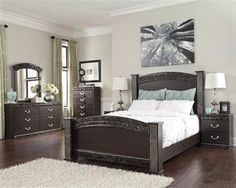 Vachel Dark Brown Wood Marble Master Bedroom Set