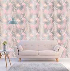 Feather Wallpaper, Baby Wallpaper, Gold Wallpaper, Pattern Wallpaper, Background Drawing, Room Baby, Kids Room Design, Gold Pattern, Baby Decor