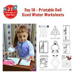 Doll sized printable winter worksheets and coloring pages