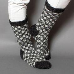 socks men unisex wool white black pattern star by helgihandicraft