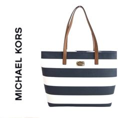 "{MICHAEL KORS} Jet Set Stripe Travel Tote Navy NWT MICHAEL Michael Kors Jet Set Striped Travel Medium Tote Navy Blue/White: -Saffiano leather. -Buckled shoulder straps. -Interior one zipper pocket and two open pockets. Measures approx. 12.5"" length x 14"" height x 4.5"" wide Please note the bag does not include hanging logo medallion. MICHAEL Michael Kors Bags Totes"