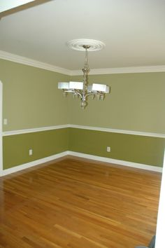 two toned room example we are doing in the Livingroom. Browns instead of greens though