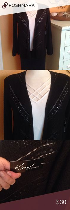 NWT Kim Rogers Ladies Black Cardigan size Medium Beautiful detailing on the front to allow whatever color you are wearing underneath show through. NWT Kim Rogers Ladies Black Cardigan, size Medium. 100% Acrylic so it's machine washable, tumble dry on low. MRSP $50.00 tag still attached. Kim Rogers Sweaters Cardigans